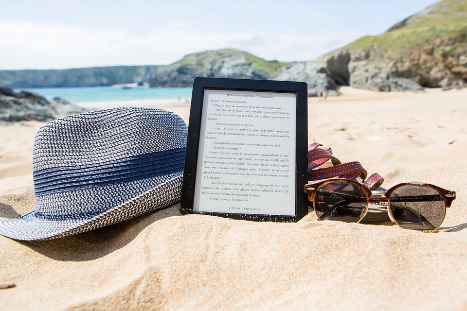 eReader on the Beach