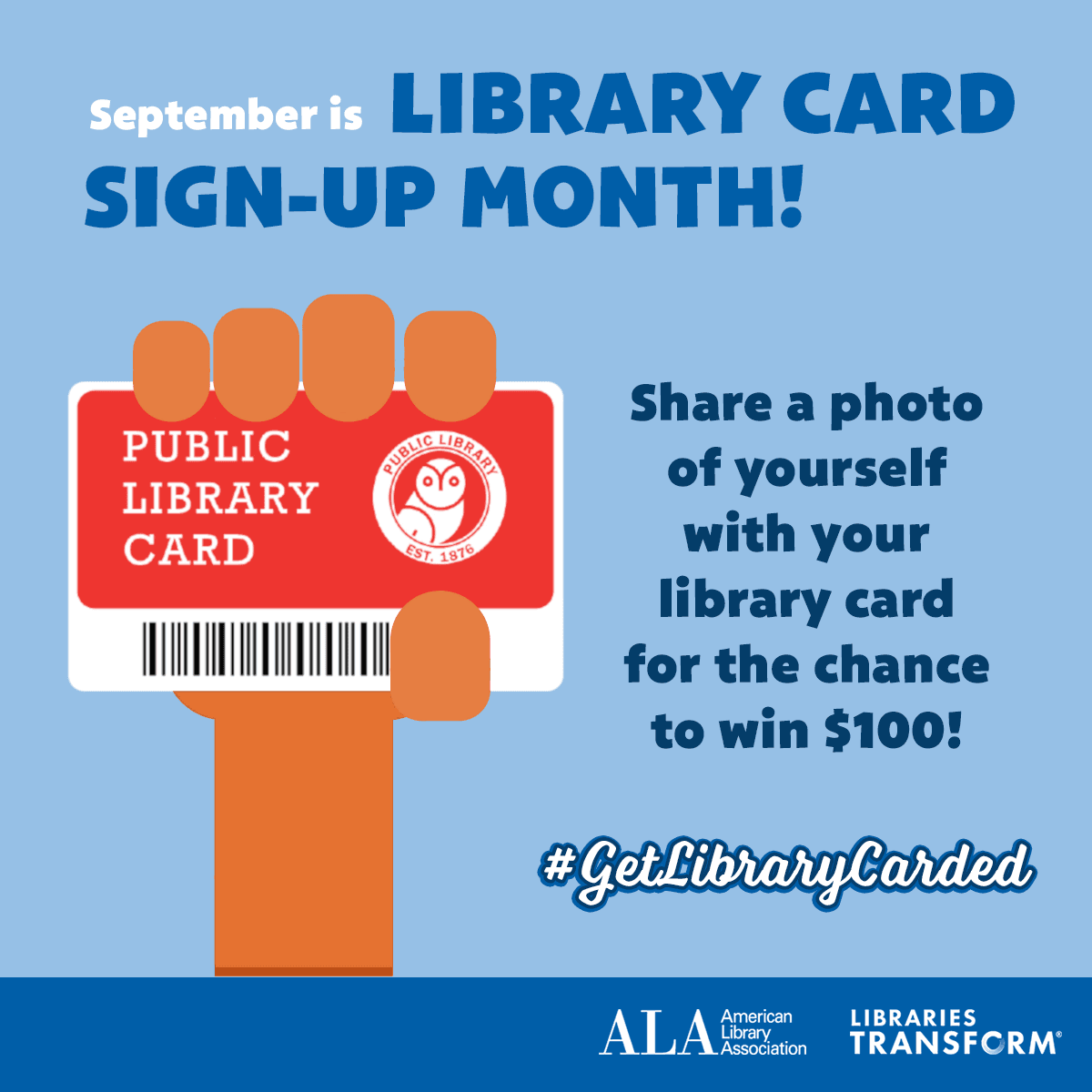 Show us your library card promo #getlibrarycarded